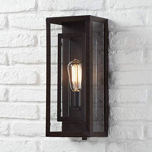 - Modern Outdoor Wall Light Fixture Bronze Double Box 15 1/2