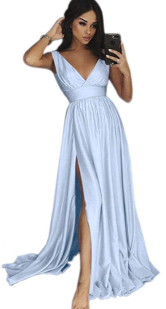 Light bluee Dressylady Women's V Neck EmpireWaist A Line Long Prom Evening Dress with Slit