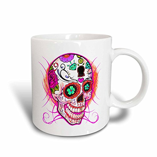 3dRose mug_193528_2 Diamond sugar skull Pink - Ceramic Mug, - Sugar Art Skull Pink