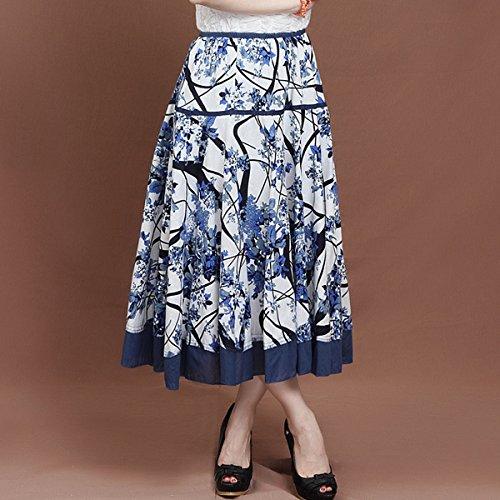 Bleu Jupe Plisse Femme Prunier Jupe lgant 75cm Casual unique Feoya Longue Impression Taille PX65q6