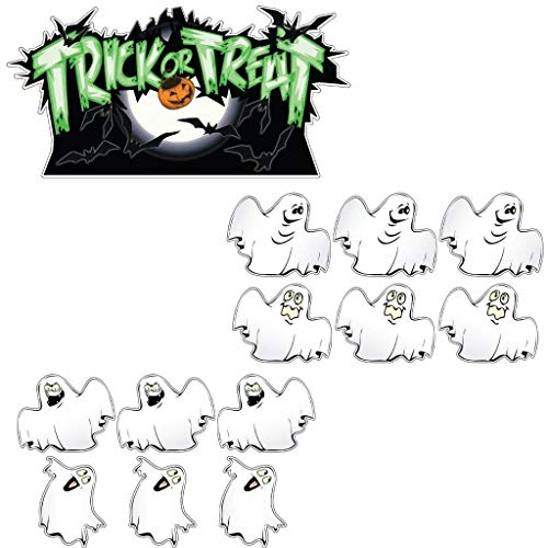 VictoryStore Yard Sign Outdoor Lawn Decorations: Trick-or-Treat Ghosts Halloween Lawn Decoration Set of 12 with 26 Short Stakes.