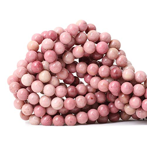 CHEAVIAN 45PCS 8mm Natural Rhodochrosite Gemstone Smooth Round Loose Beads for Jewelry Making DIY Findings 1 Strand 15
