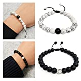 Suyi Adjustable Distance Bracelets Black Matte Agate & White Howlite Bracelet Set Friendship Relationship for Couples His Hers