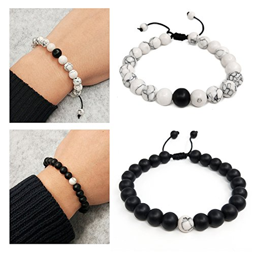 Suyi Adjustable Distance Bracelets Black Matte Agate & White Howlite Bracelet Set Friendship Relationship for Couples His Hers by Suyi