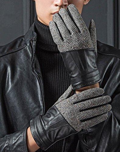 yiseven Gants en cuir véritable d'hiver, écran tactile Gants de protection Nappa italien Lamb