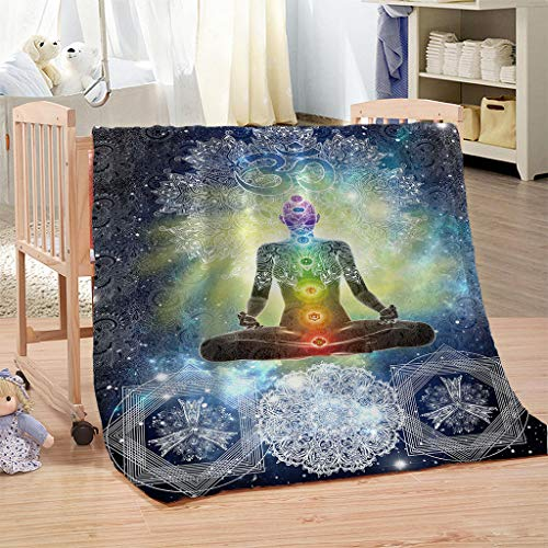 - WCHUANG Mandala Design Zen Meditation Hippie Style with Sign Chakra Art Plush Throw Blanket for Adults Turquoise Yellow Bed Couch Throw Blanket Warm Blanket Sofa Throw Blanket, 60