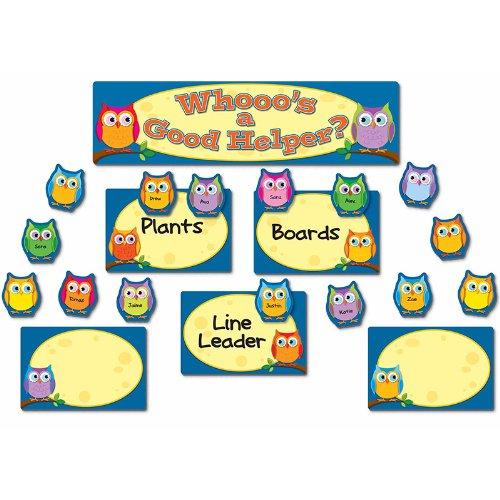 Colorful Owls Job Assignment Bulletin Board Set