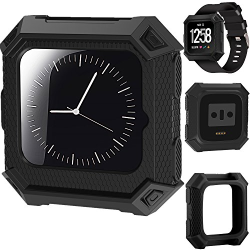 X4-Tech Fitbit Versa Fitness Rugged Shock Proof Case Frame, Soft Protective Silicone Bumper for Fitbit Versa Smart Watch (Black)