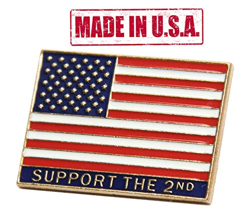 """Cheap TRS United States of America""""Support the Second"""" Flag Pin"""