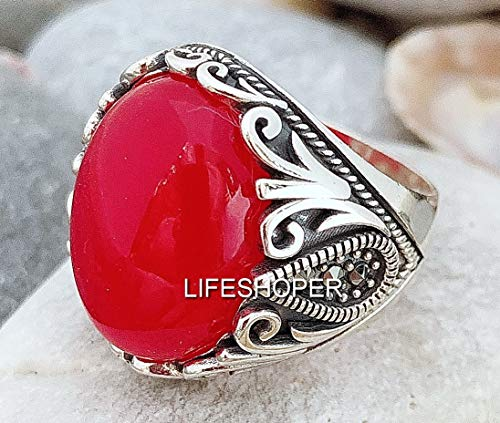 (Handmade 925 Sterling Silver Natural Jade & Marcasite stones Men's Woman's Ring)