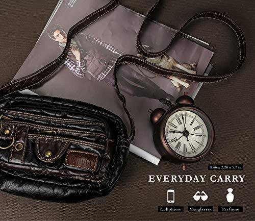 Ranboo Small Shoulder Satchel Bag Vintag Crossbody Purse Travel Bags Casual Messenger Bag Men Purse Handbag Tote Satchel Multi-Pocket Wallet Pack Zipper Hiking Outdoor Sports Faux Leather Black by Ranboo (Image #3)