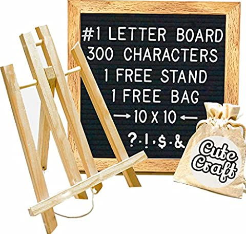 Felt Letter Board with FREE 300 Letters, Oak Stand, & Travel Bag. Square 10X10 Inches Sign with Changeable Messages & Characters for Your Restaurant, Office or - Message Board Letter