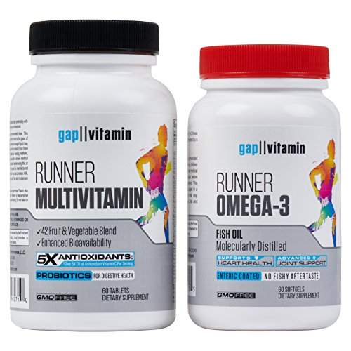 Runner Multivitamin & Omega 3 Bundle | Engineered for Runners | Antioxidants: Vitamin C (5X), Vitamin E (2X) | Energy & Vo2 Max: Vitamin B12 (10x) | Joints & Heart: 1,000mg Fish Oil | GMP Certified