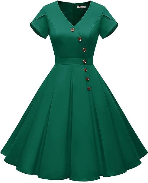 Amazon.com: Alagirls Vestido de cóctel vintage de los años ...