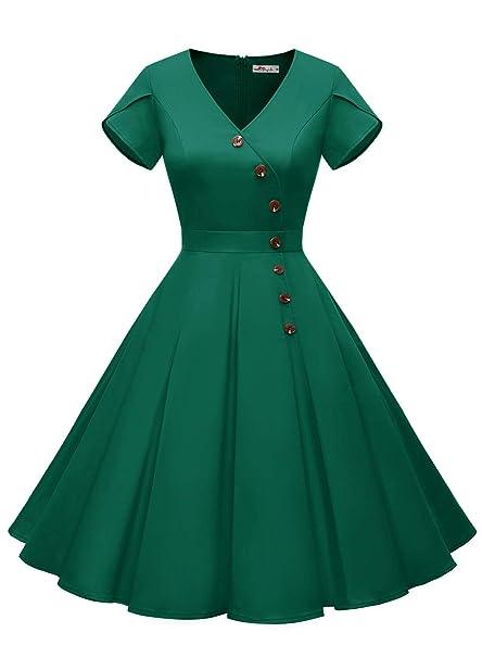 ALAGIRLS Women 50s Vintage Hepburn Cocktail Party Dress