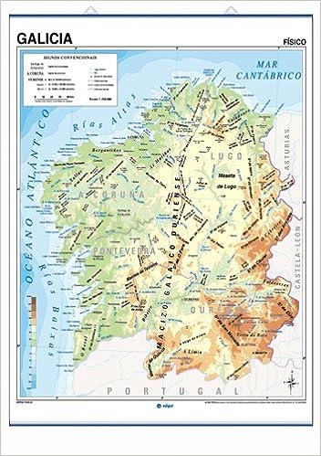 Mapa De Galicia Fisico Mudo.Mapa Mural Galicia Impreso A Doble Cara Fisico Politico