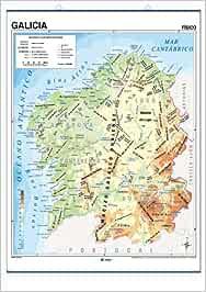 Mapa mural Galicia impreso a doble cara Físico / Político