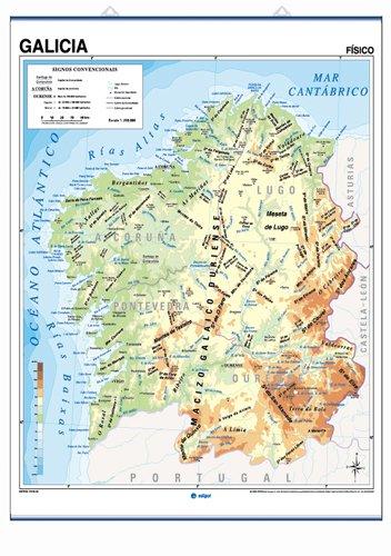 Mapa mural Galicia impreso a doble cara Físico/Político envarillado, con colgadores y tubo 100 x 140 cm (Cartografía) (Gallego) Mapa – 1 ene 2006 S. A. Edigol Ediciones S.A. 8485406966 416