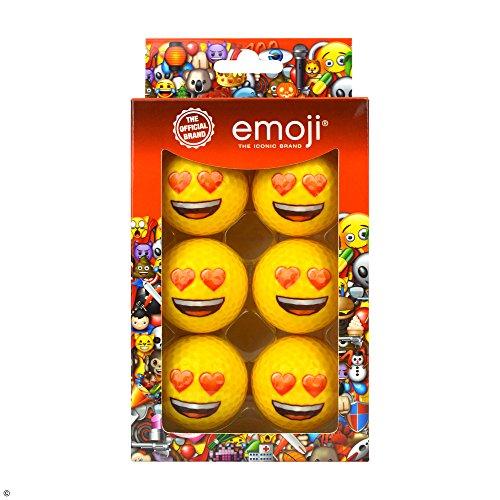 emoji Official Novelty Fun Golf Balls - 6 Pack - Choose Your (Heart Eyes)