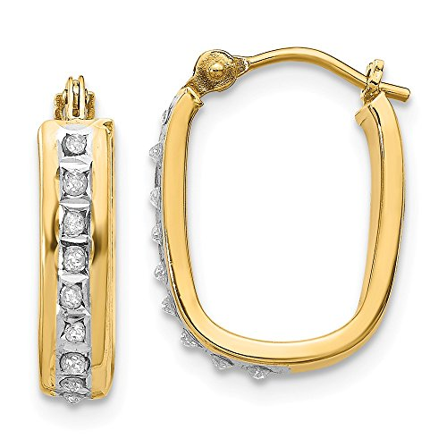 14k Yellow Gold Diamond Fascination Squared Hinged Hoop Earrings (.01 cttw.) (16mm x 4mm)