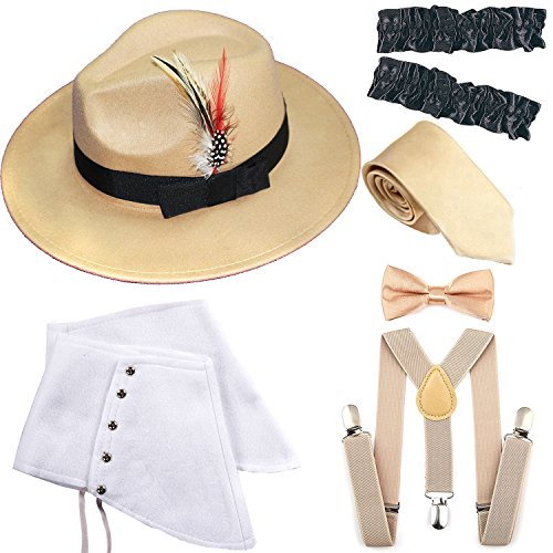 1920s Trilby Manhattan Gangster Fedora Hat, Gangster Spats,Garters Armbands,Suspenders Y-Back Elastic Trouser Braces,Pre Tied Bow Tie,Gangster Tie (OneSize, Champagne)