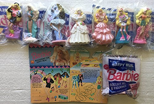 McDonald's Barbie Figures 1992 - Complete Set of Eight (8) with Happy Meal Boxes