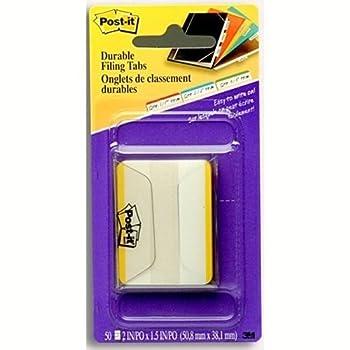 Durable Filing Tabs, 2 quot;x1-1/2 quot;, 50/PK, Yellow