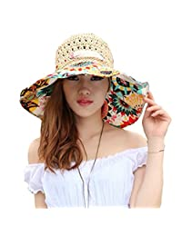 Elufly FoldableFlower Summer Large Wide Sun Beach Hat for Women Hand Woven Straw Hat