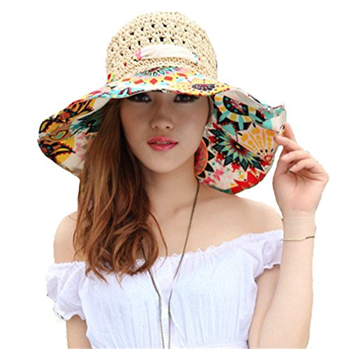 Elufly Flower Summer Large Wide Sun Beach Hat for Women Hand Woven Straw Hat (Nude) (Straw Cap Hand Woven)