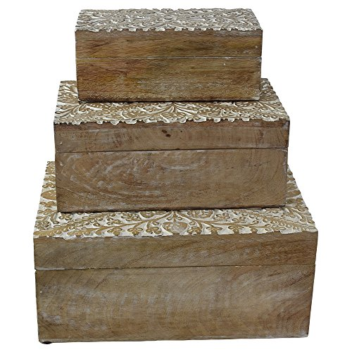 Indian Heritage Jewelry Box - Mango Wood Carved in White Distress Finish (Set of 3)