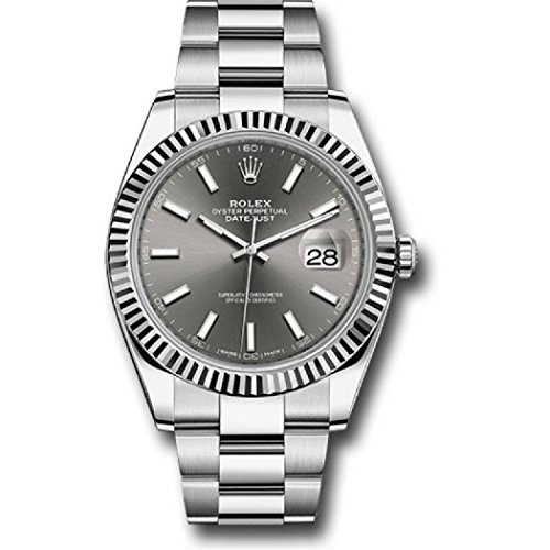 ROLEX DATEJUST 41 STEEL AND WHITE GOLD RHODIUM STICK DIAL OYSTER BRACELET 41MM