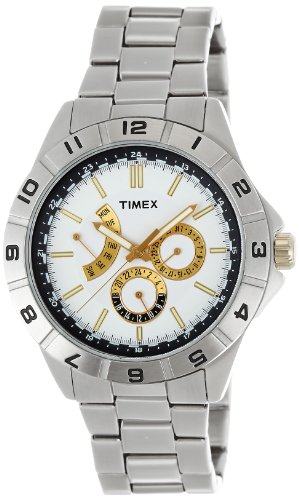 Timex T2N515 Mens Style Retrograde White All Steel Watch
