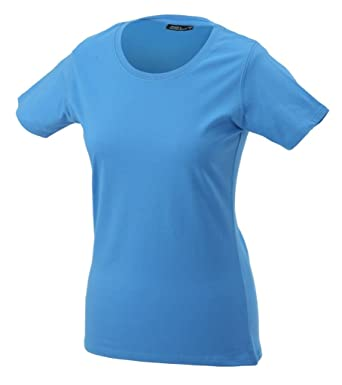 JAMES & NICHOLSON Leicht tailliertes T-Shirt aus Single-Jersey (S, aqua