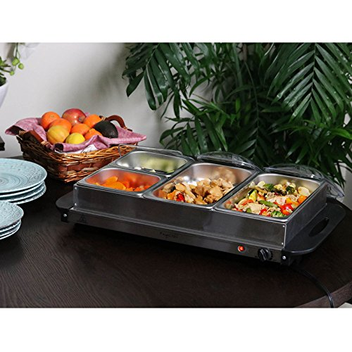MegaChef Buffet Server & Food Warmer With 4 Removable Sectional Trays, Heated Warming Tray and Removable Tray Frame by Megachef (Image #4)