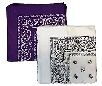 """12 PACK' Bandanas 100% Cotton Head Wrap 22"""" x 22"""" - 1 White and 1 Purple in 1 pack"""