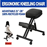 Ergonomic Kneeling Chair for Upright Posture & Healthy Back, Adjustable Knee Stool for Home, Office and Meditation, Ergo Desk & Computer Orthopedic Chair Hydraulic Black by D'sign Lab
