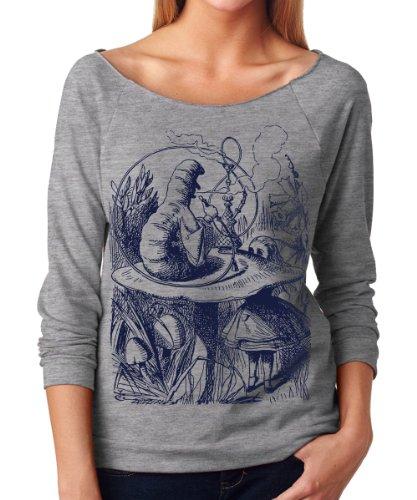 Superluxe-Womens-Caterpillar-Alice-in-Wonderland-Terry-34-Sleeve-T-Shirt-Medium-Heather-Grey