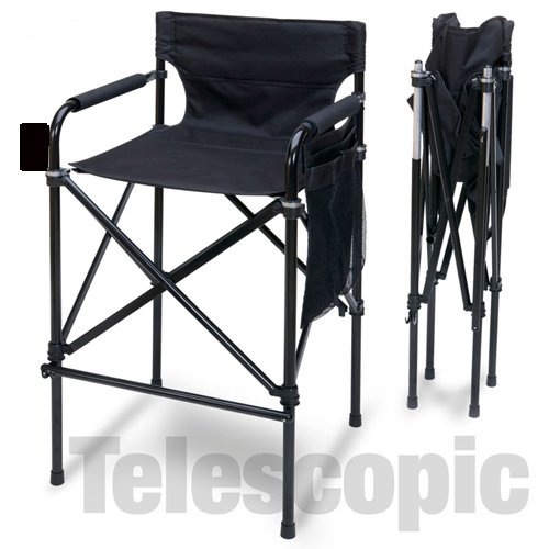 World Outdoor Products AWARD WINNING BLACK BEAUTY Tall Directors Chair Telescopic Folding Chair Design, Easy-To-Carry Matching Black Carrying Bag