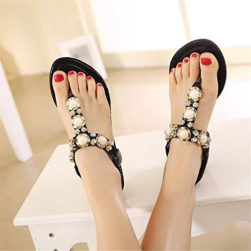 Zapatos de verano en la playa Diamante BEAD hembra con sandalias planas sandalias Negro