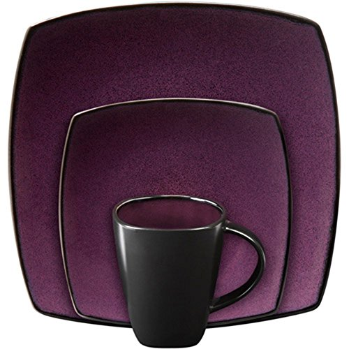Gibson Soho Lounge Square 16-piece dinnerware set Purple - 1
