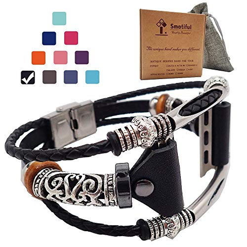 Smatiful Fancy Bands (Small Mediume Large XL are Ok) with Stainless Steel Clasp and Gunmetal Parts for Women, Adjustable Replacement Leather Band for Apple Watch 38mm (Series 1,2,3,4,5),Classic Black