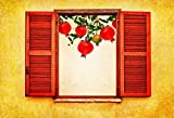 Yeele Backdrops 10x8ft /3 X 2.4M Window With Open Wooden Shutters Pomegranate And Apple Symbols Of Holiday Fall Harvest Pictures Adult Artistic Portrait Photoshoot Props Photography Background