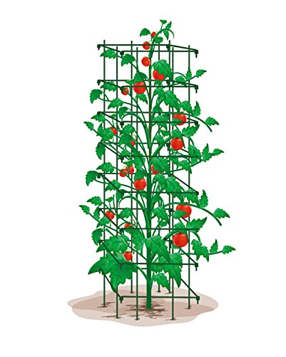 Rectangular Trellis - EcoTrellis Super High Heavy Duty Tomato Trellis 64Inch H by 14Inch Square Tomato Rectangular Mesh Green Set of 1