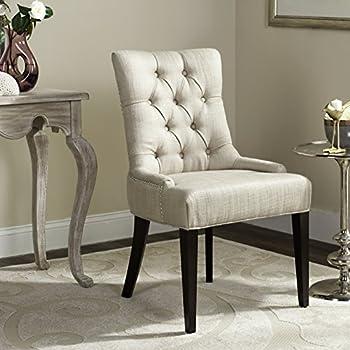 Beau Safavieh Mercer Collection Erica Button Tufted Side Chair, Khaki Grey