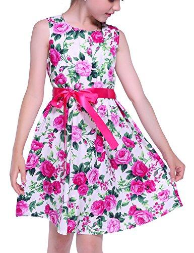 PrinceSasa Floral Girls Dresses 7-16 Spring Dresses Clothes,rose5,9-10 (Spring Flowers Clothing)