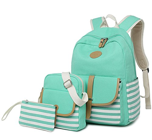 FLYMEI Lightweight Canvas Backpack Teens Backpack Boys and Girls School Bag Bookbags Set 3 in 1 Travel Daypack 14Inch Laptop Backpack,Green by FLYMEI (Image #4)