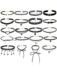 ROWAG 20 pcs Sexy Gothic Black Lace Choker Necklace Set for Women Teen Girls