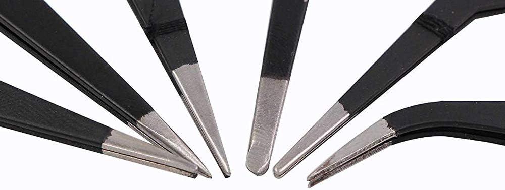 pincettes r/égl/ées ESD 10-15 s/ûrs antistatiques Outils de brucelles /à souder en Acier Inoxydable pour la Station de Soudure 6pcs Topwor Brucelles de Soudure /électrique