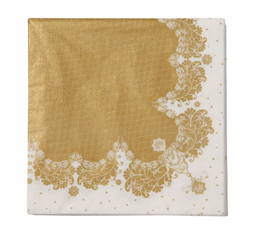Talking Tables Gold Party Vintage Napkins for a Tea Party, Wedding or Birthday, Gold (20 Pack) (Gold Napkin)