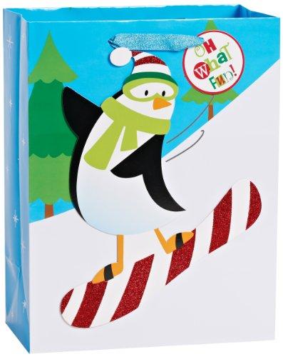 American Greetings Christmas Holiday Large Gift Bag, Penguin on Snowboard (645416626477)